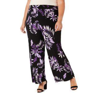 NWT Alfani Wide Leg Palazzo Tropical Pants Plus 0X